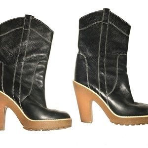 Marc By Marc Jacobs Black Leather Boots 35.5